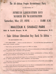 """""""African Liberation Day March on Washington"""" Flyer"""