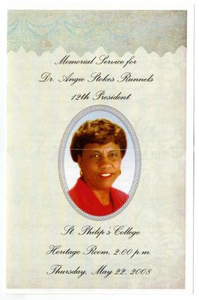 Memorial Program for Angie Stokes Runnels, May 22, 2008 Memorial Service for Dr. Angie Stokes Runnels, 12th President St. Philip's College