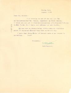 Letter from E. H. Webster to W. E. B. Du Bois