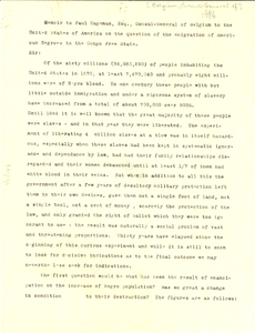 Memoir from W. E. B. Du Bois to Paul Hageman, Consul-General of Belgium to the United States of America