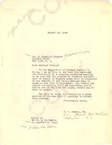 Letter from Alpha Phi Alpha Fraternity to E. Franklin Frazier