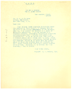 Letter from New York Public Library to W. E. B. Du Bois