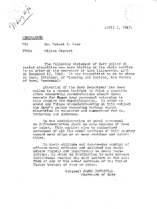 Memorandum from Milton Stewart to Robert Carr Regarding the Navy Policy on Racial Minorities