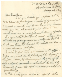 Letter from James R. L. Diggs to W. E. B. Du Bois