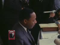 """WSB-TV newsfilm clip of Dr. Martin Luther King, Jr. speaking about """"black power"""" and segregationist Lester Maddox's campaign for governor, Atlanta, Georgia, 1966 October 9"""