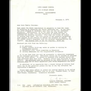 Letter, host family chairman.