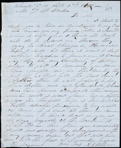 A. J. McElveen, Sumter Court House, S.C., autograph letter signed to Ziba B. Oakes, 1 September 1856