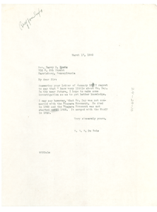 Letter from W. E. B. Du Bois to Harry D. Houtz
