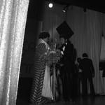 Miss Black America Linda Barney talking backstage, Atlantic City, 1972