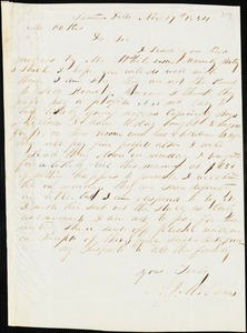 A. J. McElveen, Sumter District, S.C., autograph letter signed to Ziba B. Oakes, 17 November 1854