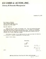 """Letter from Jay Acton to Ernest A. Champion regarding James Baldwin's term as """"Writer in Residence"""""""