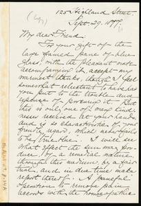 Letter from William Lloyd Garrison, 125 Highland Street, [Boston], to Caroline Coddington Thayer, Sept. 29, 1877