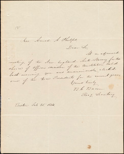 Letter from New England Anti-Slavery Society, Boston, to Amos Augustus Phelps, Feb. 25 1834