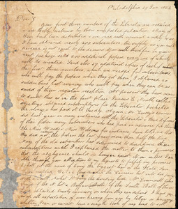 Letter from Joshua Coffin and Arnold Buffum, Philadelphia, [Pennsylvania], to William Lloyd Garrison, 1834 Jan[uary] 29