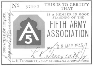 Member card for the Fifth Army Association