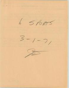 News Script: Sports segment, March 1, 1971