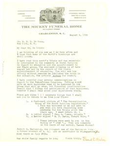 Letter from Edward C. Mickey to W. E. B. Du Bois
