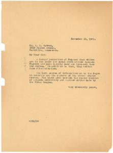 Letter from W. E. B. Du Bois to E. E. Watson