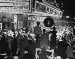 Macbeth crowd outside theatre