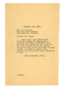 Letter from W. E. B. Du Bois to A. L. Lewis