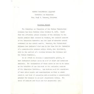 Boston Ministerial Alliance progress report.