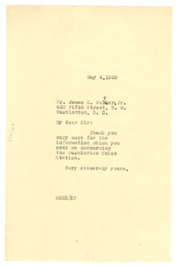 Letter from W. E. B. Du Bois to James C. Waters