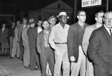One African American in a long voting line in Clinton, Tennessee, 1956 December 05