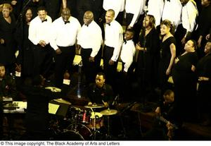 Choir and band on stage Black Music and the Civil Rights Movement Concert, featuring Chrisette Michele an Ledisi