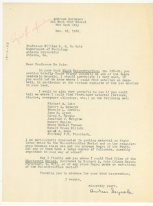Letter from Andreas Dorpalen to W. E. B. Du Bois