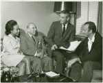 Diahann Carroll (Barbara Woodruff), Richard Rodgers (music), Samuel Taylor (book) and Richard Kiley (David Jordon) in rehearsal for the stage production No Strings