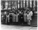 [Group portrait of NAACP youth members and adult representatives attending the Eastern Regional Training Conference; Thurgood Marshall appears in front row, second from the right]