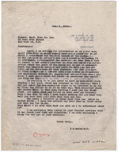 [Two Letters from Dr. Edwin D. Moten to William H. Wise & Co., October 1 & 11, 1946]