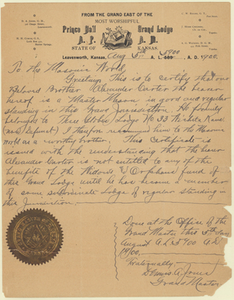 Letter of recommendation from Grand Master Dennis A. Jones for Alexander Carter, 1900 August 5