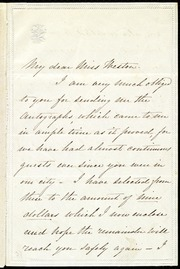 Letter to] My dear Miss Weston [manuscript