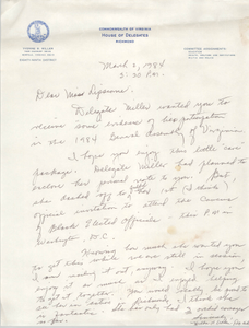 "Letter from Office of Yvonne B. Miller to ""Miss Lipscome,"" March 2, 1984"