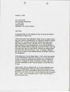 Letter from Mark H. McCormack to Rex B. Evans