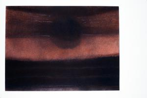 Muted red and black artwork by Claudia Betti Slides, circa 1955-1982