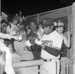 Giants sign autographs, Los Angeles, 1984