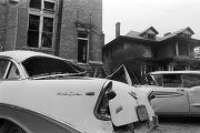 Thumbnail for Damaged cars in the street outside of 16th Street Baptist Church in Birmingham, Alabama, after the building was bombed.