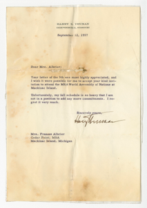 Letter to Frances Albrier from Harry S. Truman with envelope