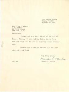 Letter from Manila L. Marion to W. E. B. Du Bois