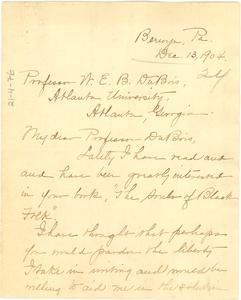 Letter from Margaretta Atkinson to W. E. B. Du Bois