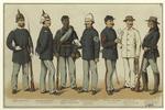 Nationalgardist ; Infanterie-Offizier Mit Sommerhelm ; Soldat Eines Neger-Regiments ; Quartiermeister-Sergeant (Infanterie) ; Sattler-Sergeant (Artillerie) ; Soldat Im Arbeits-Anzug (Cavallerie) ; Indianer Kundschafter