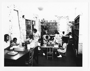 Photograph of librarians working with children at the Athens Regional Library, Dunbar Branch, Athens, Georgia, circa 1950