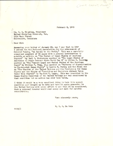 Letter from W. E. B. Du Bois to United Christian Movement, Inc.
