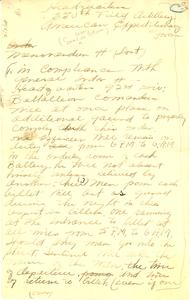 Memorandum from headquarters, 350th Field Artillery