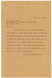 Letter from W. E. B. Du Bois to Alvin Jones