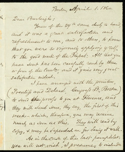Letter from Samuel May, Boston, to Charles Calistus Burleigh, April 1, 1860