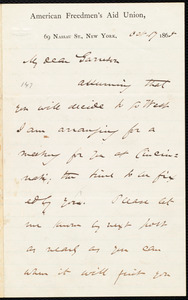 Letter from James Miller M'Kim, New York, [N.Y.], to William Lloyd Garrison, Oct[ober] 17 1865