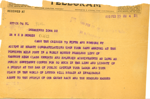 Telegram from George H. Woodson to W. E. B. Du Bois